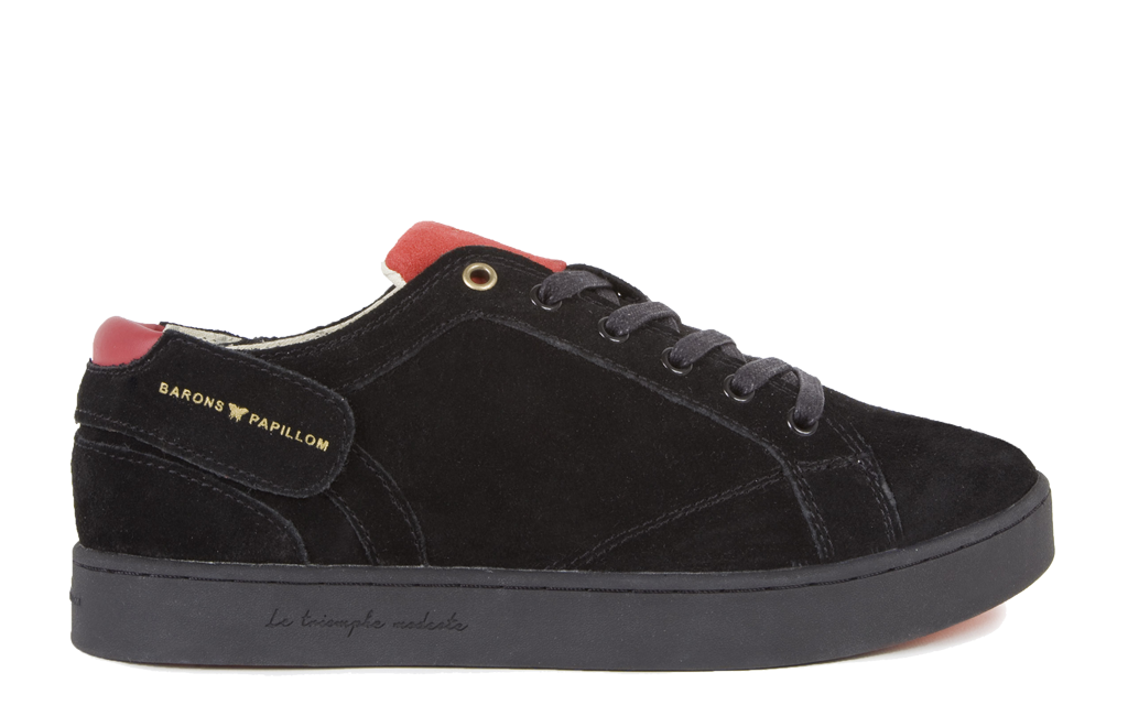 Sneaker Barons Papillom Low Suede leather noir rouge